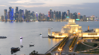 the-museum-of-islamic-art-on-the-corniche-in-the-evening-in-doha-qatar
