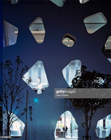 Mikimoto Ginza 2, Tokyo, Japan, Architect Toyo Ito + Taisei Design Pae, Mikimoto Ginza 2 Dusk Exterior View. (Photo by View Pictures/Universal Images Group via Getty Images)